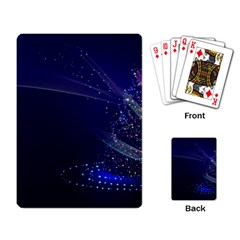 Christmas Tree Blue Stars Starry Night Lights Festive Elegant Playing Card