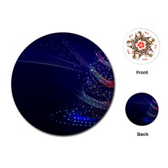 Christmas Tree Blue Stars Starry Night Lights Festive Elegant Playing Cards (round)