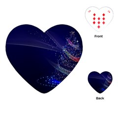 Christmas Tree Blue Stars Starry Night Lights Festive Elegant Playing Cards (heart)