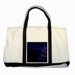 Christmas Tree Blue Stars Starry Night Lights Festive Elegant Two Tone Tote Bag