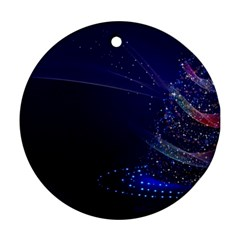 Christmas Tree Blue Stars Starry Night Lights Festive Elegant Round Ornament (two Sides)