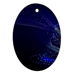 Christmas Tree Blue Stars Starry Night Lights Festive Elegant Oval Ornament (two Sides)