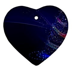 Christmas Tree Blue Stars Starry Night Lights Festive Elegant Heart Ornament (two Sides)