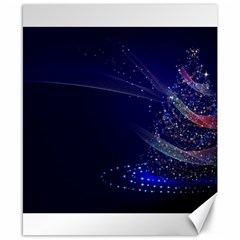 Christmas Tree Blue Stars Starry Night Lights Festive Elegant Canvas 8  X 10