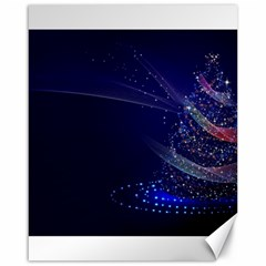 Christmas Tree Blue Stars Starry Night Lights Festive Elegant Canvas 16  X 20