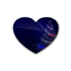 Christmas Tree Blue Stars Starry Night Lights Festive Elegant Heart Coaster (4 Pack)