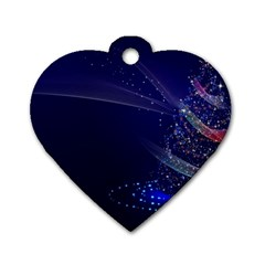Christmas Tree Blue Stars Starry Night Lights Festive Elegant Dog Tag Heart (one Side)