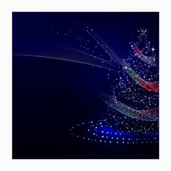 Christmas Tree Blue Stars Starry Night Lights Festive Elegant Medium Glasses Cloth (2 Side)
