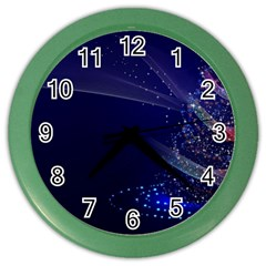 Christmas Tree Blue Stars Starry Night Lights Festive Elegant Color Wall Clocks