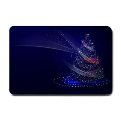 Christmas Tree Blue Stars Starry Night Lights Festive Elegant Small Doormat