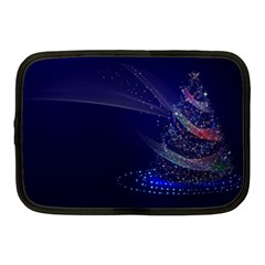 Christmas Tree Blue Stars Starry Night Lights Festive Elegant Netbook Case (medium)