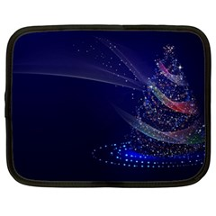 Christmas Tree Blue Stars Starry Night Lights Festive Elegant Netbook Case (large)