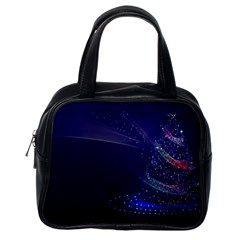 Christmas Tree Blue Stars Starry Night Lights Festive Elegant Classic Handbags (one Side)
