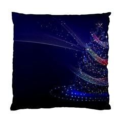 Christmas Tree Blue Stars Starry Night Lights Festive Elegant Standard Cushion Case (two Sides)