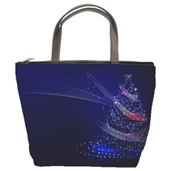 Christmas Tree Blue Stars Starry Night Lights Festive Elegant Bucket Bags