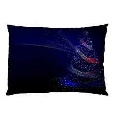 Christmas Tree Blue Stars Starry Night Lights Festive Elegant Pillow Case