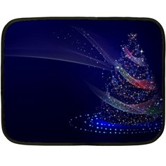 Christmas Tree Blue Stars Starry Night Lights Festive Elegant Double Sided Fleece Blanket (mini)