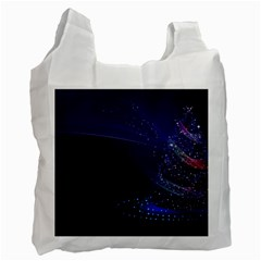 Christmas Tree Blue Stars Starry Night Lights Festive Elegant Recycle Bag (two Side)
