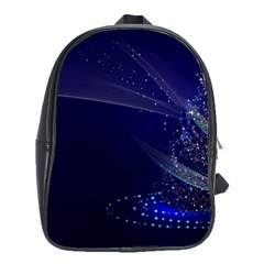 Christmas Tree Blue Stars Starry Night Lights Festive Elegant School Bag (large)