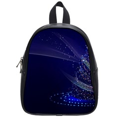 Christmas Tree Blue Stars Starry Night Lights Festive Elegant School Bag (small)