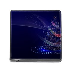 Christmas Tree Blue Stars Starry Night Lights Festive Elegant Memory Card Reader (square)
