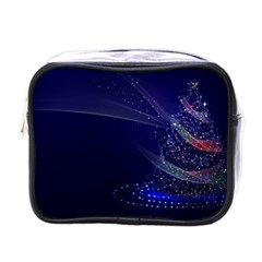 Christmas Tree Blue Stars Starry Night Lights Festive Elegant Mini Toiletries Bags