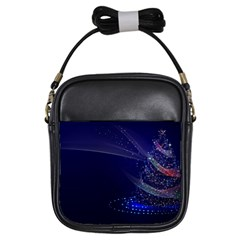 Christmas Tree Blue Stars Starry Night Lights Festive Elegant Girls Sling Bags