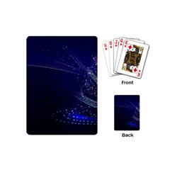 Christmas Tree Blue Stars Starry Night Lights Festive Elegant Playing Cards (mini)