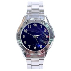 Christmas Tree Blue Stars Starry Night Lights Festive Elegant Stainless Steel Analogue Watch