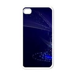Christmas Tree Blue Stars Starry Night Lights Festive Elegant Apple Iphone 4 Case (white)