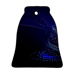 Christmas Tree Blue Stars Starry Night Lights Festive Elegant Bell Ornament (two Sides)