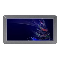 Christmas Tree Blue Stars Starry Night Lights Festive Elegant Memory Card Reader (mini)