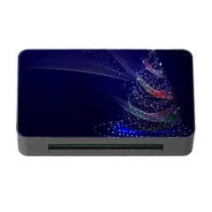 Christmas Tree Blue Stars Starry Night Lights Festive Elegant Memory Card Reader With Cf
