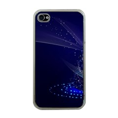 Christmas Tree Blue Stars Starry Night Lights Festive Elegant Apple Iphone 4 Case (clear)