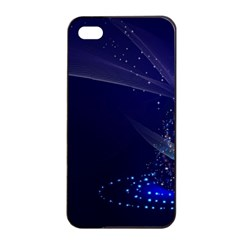 Christmas Tree Blue Stars Starry Night Lights Festive Elegant Apple Iphone 4/4s Seamless Case (black)