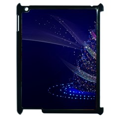 Christmas Tree Blue Stars Starry Night Lights Festive Elegant Apple Ipad 2 Case (black)