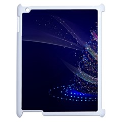 Christmas Tree Blue Stars Starry Night Lights Festive Elegant Apple Ipad 2 Case (white)