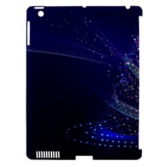 Christmas Tree Blue Stars Starry Night Lights Festive Elegant Apple Ipad 3/4 Hardshell Case (compatible With Smart Cover)