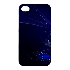 Christmas Tree Blue Stars Starry Night Lights Festive Elegant Apple Iphone 4/4s Premium Hardshell Case