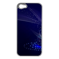 Christmas Tree Blue Stars Starry Night Lights Festive Elegant Apple Iphone 5 Case (silver)