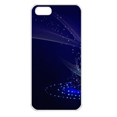 Christmas Tree Blue Stars Starry Night Lights Festive Elegant Apple Iphone 5 Seamless Case (white)