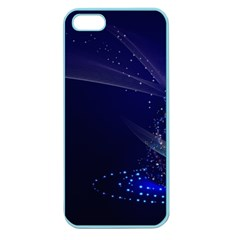 Christmas Tree Blue Stars Starry Night Lights Festive Elegant Apple Seamless Iphone 5 Case (color)