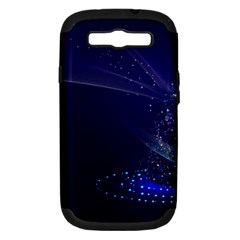 Christmas Tree Blue Stars Starry Night Lights Festive Elegant Samsung Galaxy S Iii Hardshell Case (pc+silicone)
