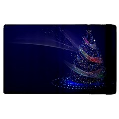 Christmas Tree Blue Stars Starry Night Lights Festive Elegant Apple Ipad 2 Flip Case
