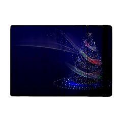 Christmas Tree Blue Stars Starry Night Lights Festive Elegant Apple Ipad Mini Flip Case