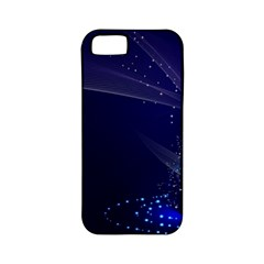 Christmas Tree Blue Stars Starry Night Lights Festive Elegant Apple Iphone 5 Classic Hardshell Case (pc+silicone)