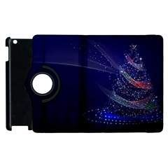 Christmas Tree Blue Stars Starry Night Lights Festive Elegant Apple Ipad 3/4 Flip 360 Case