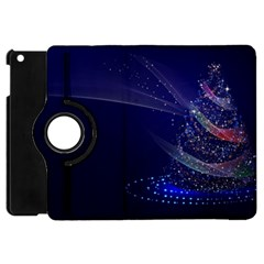 Christmas Tree Blue Stars Starry Night Lights Festive Elegant Apple Ipad Mini Flip 360 Case