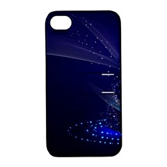 Christmas Tree Blue Stars Starry Night Lights Festive Elegant Apple Iphone 4/4s Hardshell Case With Stand
