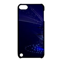 Christmas Tree Blue Stars Starry Night Lights Festive Elegant Apple Ipod Touch 5 Hardshell Case With Stand